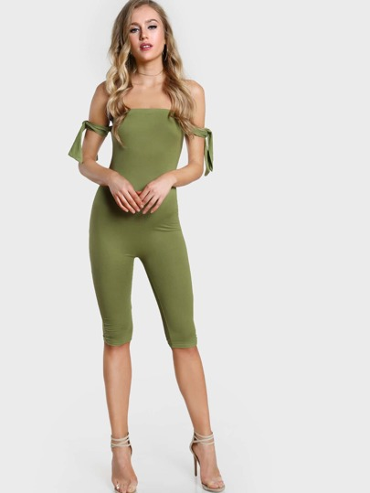 Capri Length Tied Sleeves Jumpsuit LIGHT GREEN