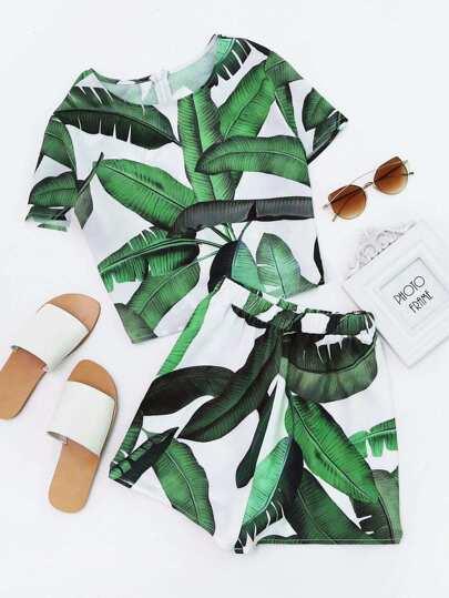 Top imprimé des feuilles avec le zip &Shorts