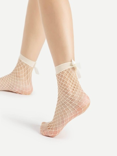 Bow Detail Fishnet Ankle Socks