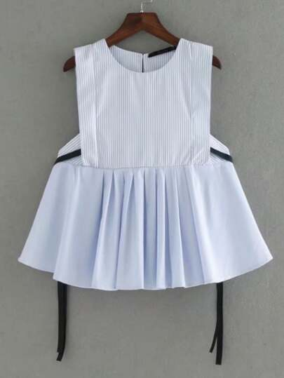 Vertical Striped Pleated Sleeveless Top