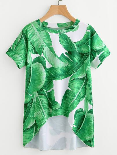 Palm Leaf Print Dip Hem Tee
