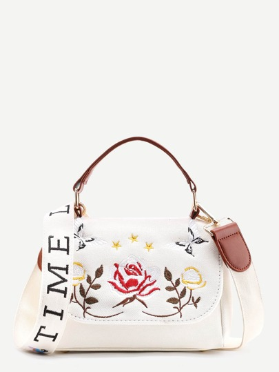 Flower Embroidery Denim Shoulder Bag With Handle