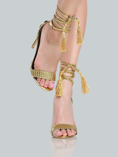 Braided Metallic Wrap Up Heels GOLD