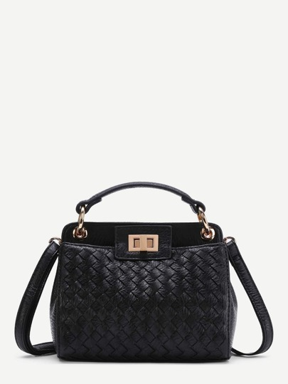 Quilted Twist Lock Shoulder Bag With Handle