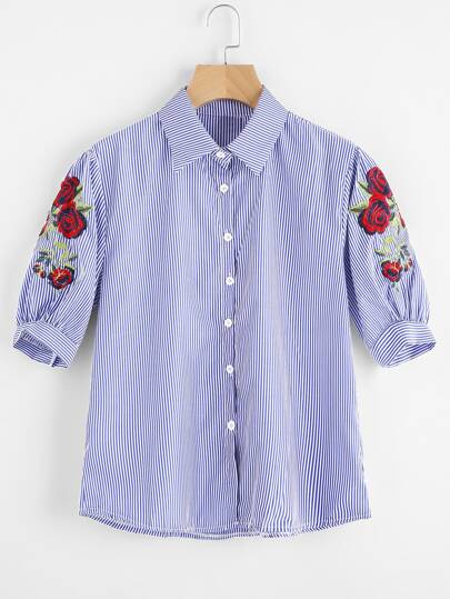 Symmetrical Embroidered Puff Sleeve Shirt