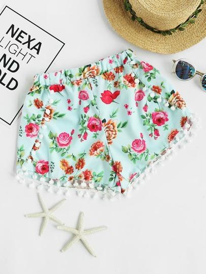 Shorts con estampado floral con pompones