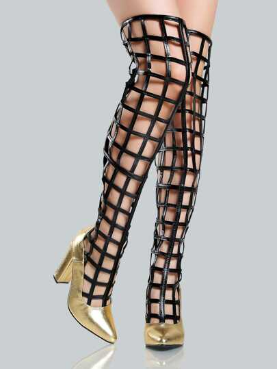 Metallic Point Toe Caged Thigh Highs GOLD