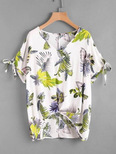 V Neckline Floral Print Bow Tie Cuff Dip Hem Top