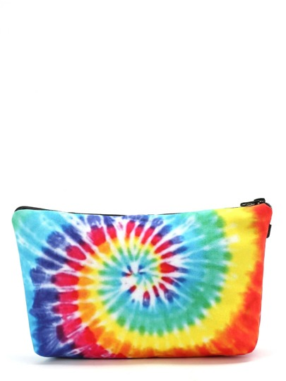 Rainbow Spiral Tie Dye Makeup Bag