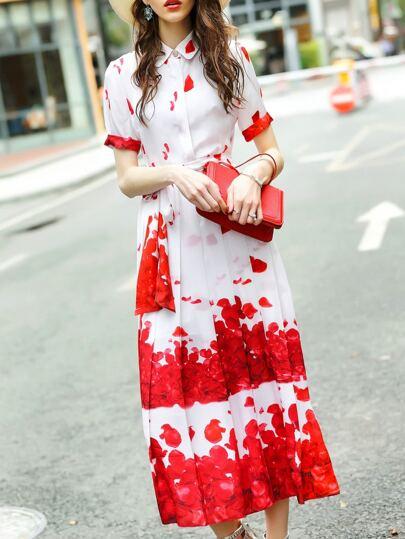 Petals Print Tie-Waist Dress