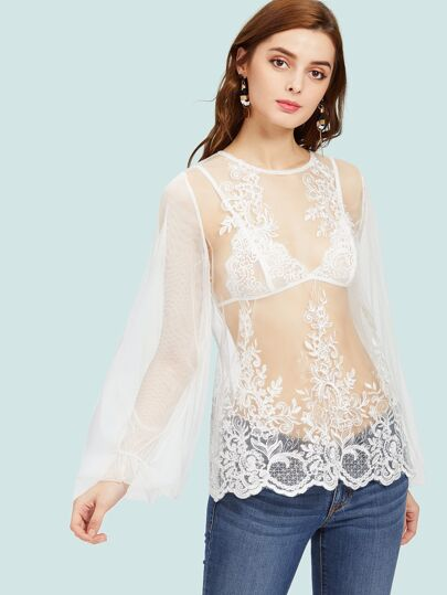 Floral Lace Applique Lantern Sleeve Sheer Mesh Top