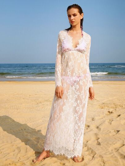 Plunging V-neckline Floral Eyelash Lace Cover Up
