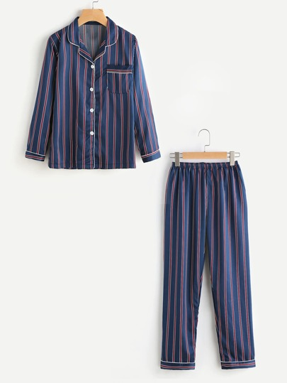 Striped Revere Collar Satin Pajama Set