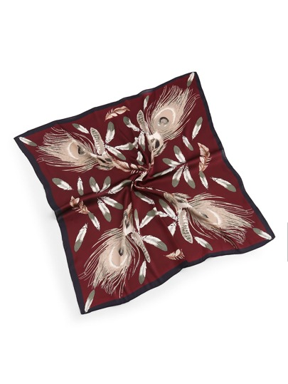 Feather Print Satin Bandana