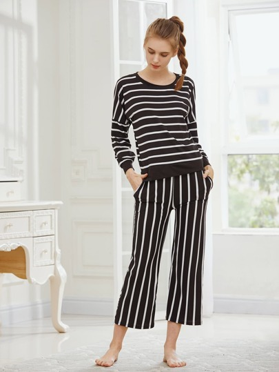 Striped Drop Shoulder Tee And Pants Pajama Set
