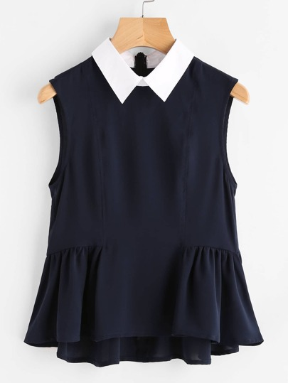 Contrast Collar Frilled Hem Shell Top