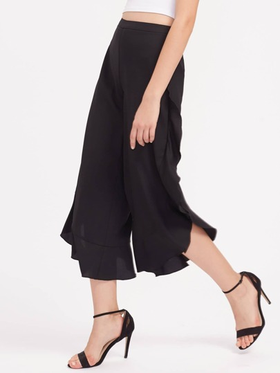 Ruffle Trim Split Curved Culotte Pants