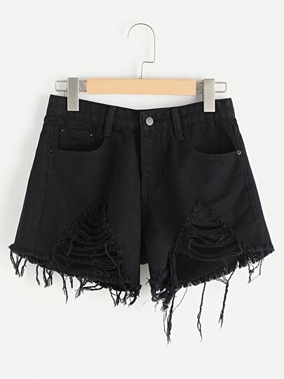 Shorts lacéré élimé en denim