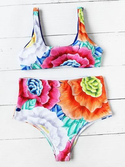 Set di bikini a vita alta con stampa di fiore