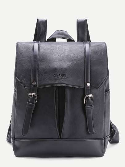 Double Buckle PU Backpack