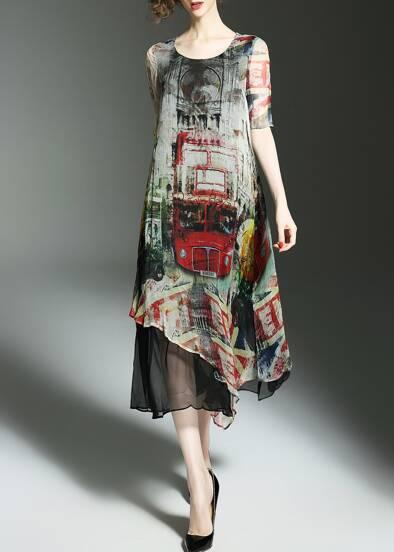 Bus Print Asymmetric Dress