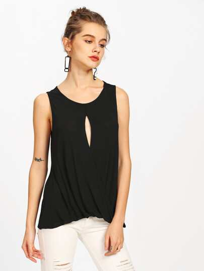Keyhole Front Draped Tank Top