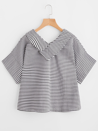 V-neckline Striped Top