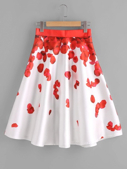 Rose Petal Print Zipper Skirt
