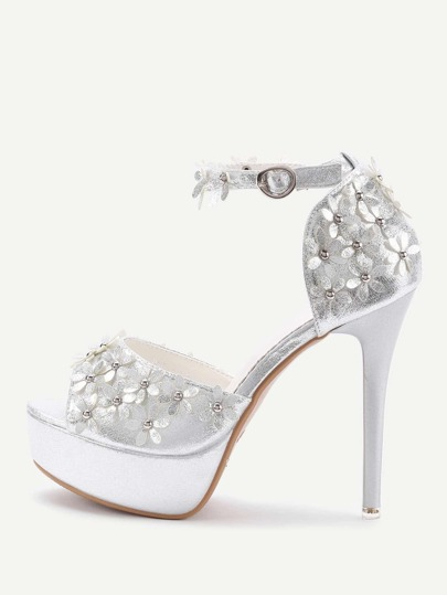 Flower Embellished Platform High Heels