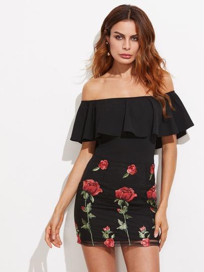 Модное платье с вышивкой и открытыми плечами
