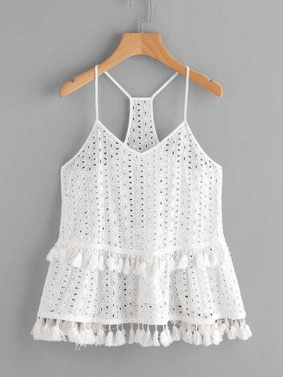 Tassel Trim Eyelet Embroidered Racerback Cami Top