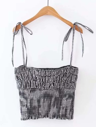 Self Tie Shirred Gingham Cami Top