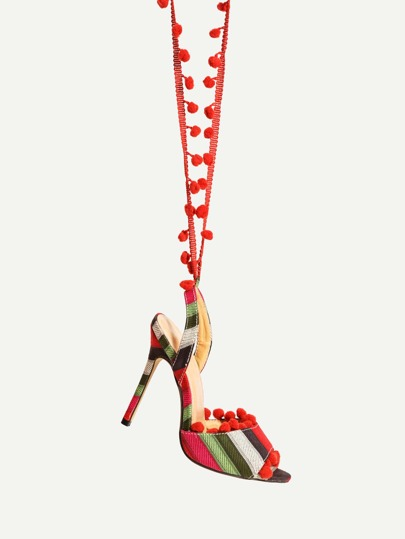 Pom Pom Embellished Striped Heeled Sandals