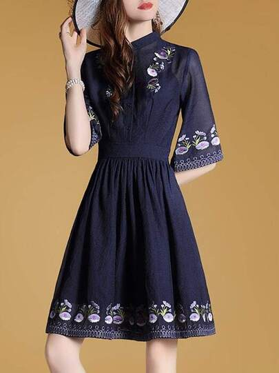 Flowers Embroidered Pleated A-Line Dress