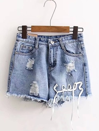 Shorts lacéré corde embellie en denim