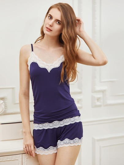 Contrast Lace Trim Cami Pajama Set