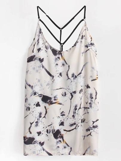 Bird Print Strappy Back Dress