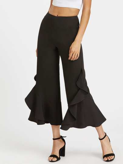 Frill Trim Crop Flared Pants