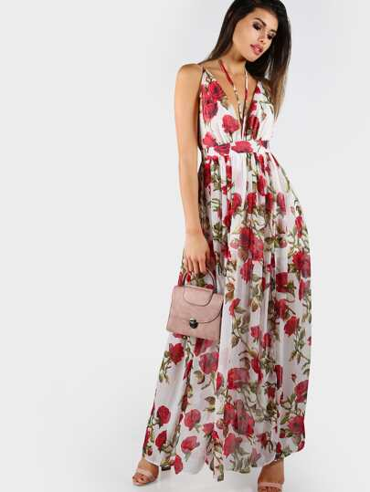 Rose Print Strappy Maxi Dress IVORY