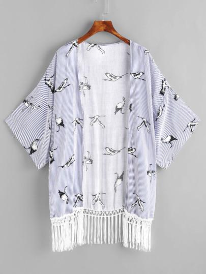 Kimono a strisce con stampa di crane