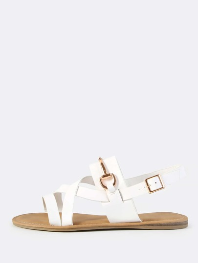 Strappy Slingback Sandals WHITE