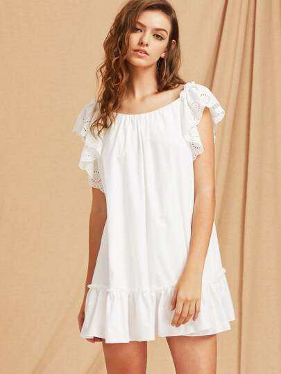 Kleid mit Stickereien, Flatternde Hülse und Band hinten