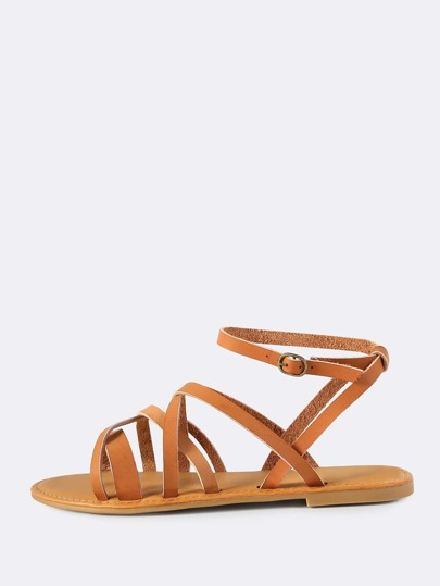 Faux Leather Super Cross Sandals TAN