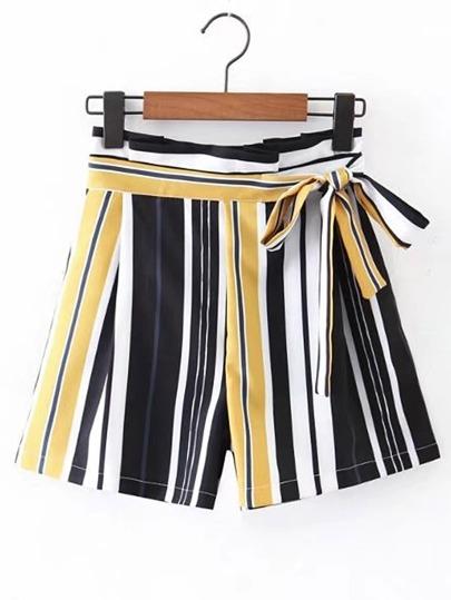 Bow Tie Waist Vertical Striped Shorts