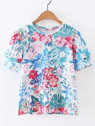 Layered Sleeve Floral Print Tee