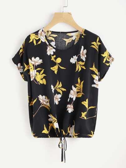 Florals Dolman Sleeve Drawstring Top