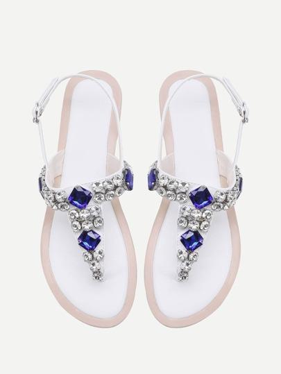 Sandalias con adorno de piedra preciosa