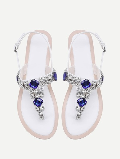 Gemstone Decorated T Strap Sandals