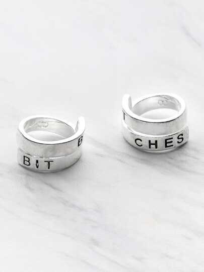 2 piezas de anillo cruzado con estampado de letra