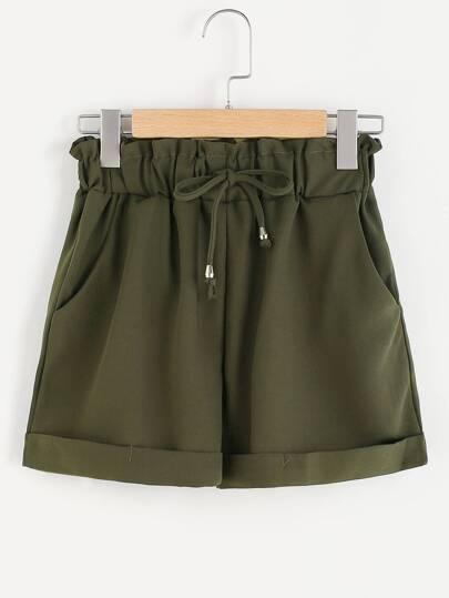 Shorts de doblez fruncido de cintura con cordón